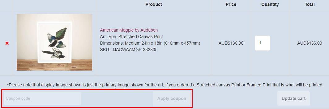 How do I use my Blue Horizon Prints coupon code?