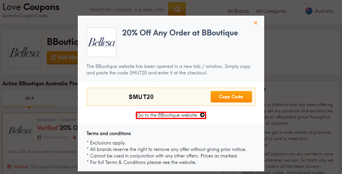BBoutique Offer Code AU