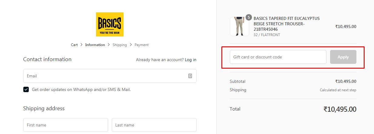 How do I use my Basics Life discount code?