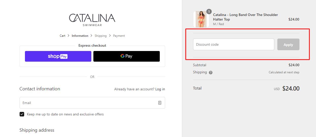 How do I use my Catalina Swimwear discount code?
