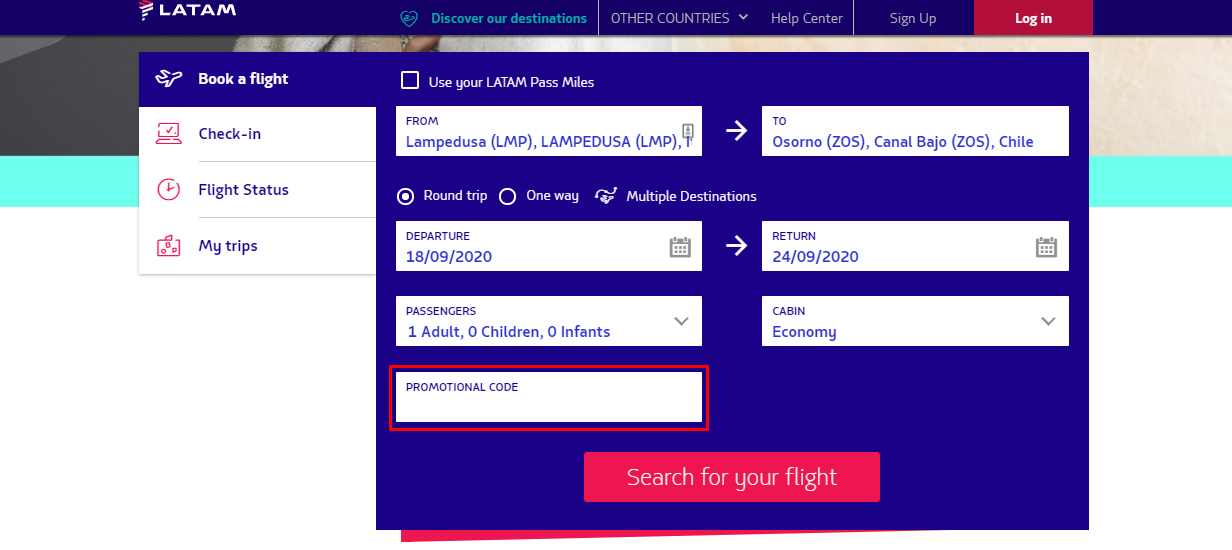 How do I use my LATAM Airlines promotional code?