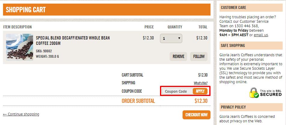 How do I use my Gloria Jean's Coffees discount code?