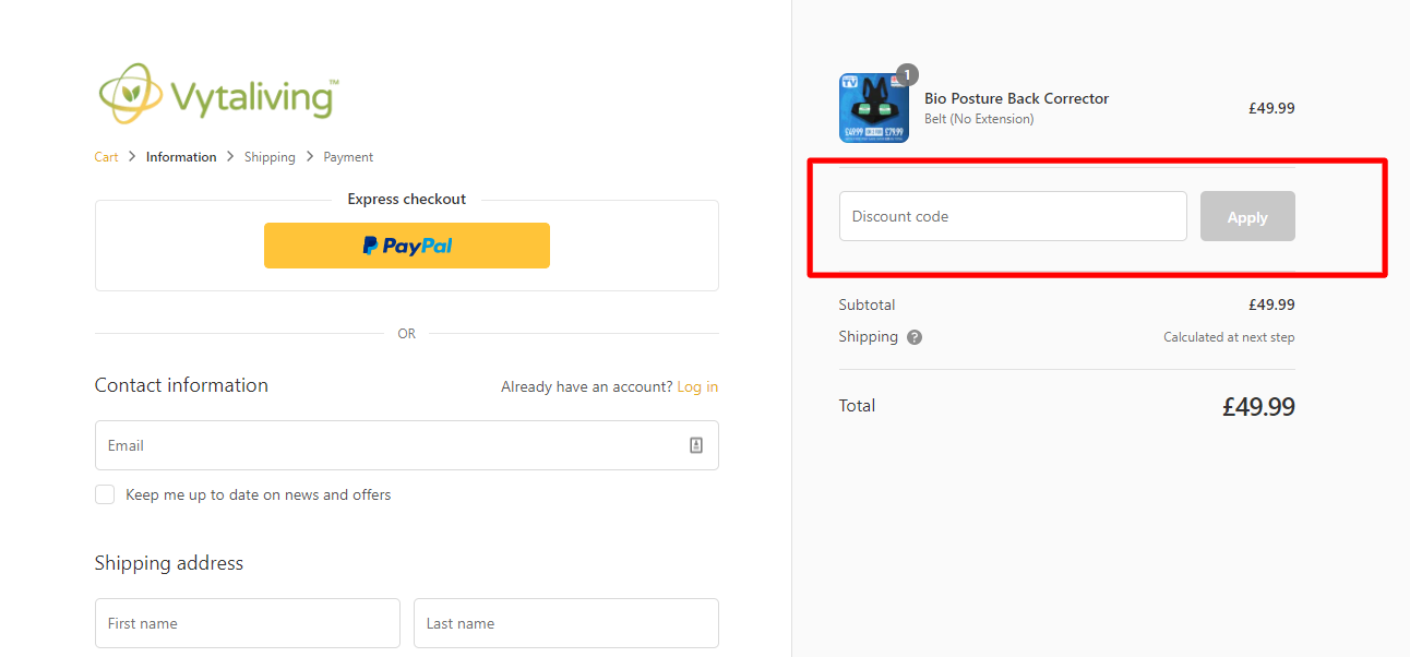 How do I use my Vytaliving discount code?