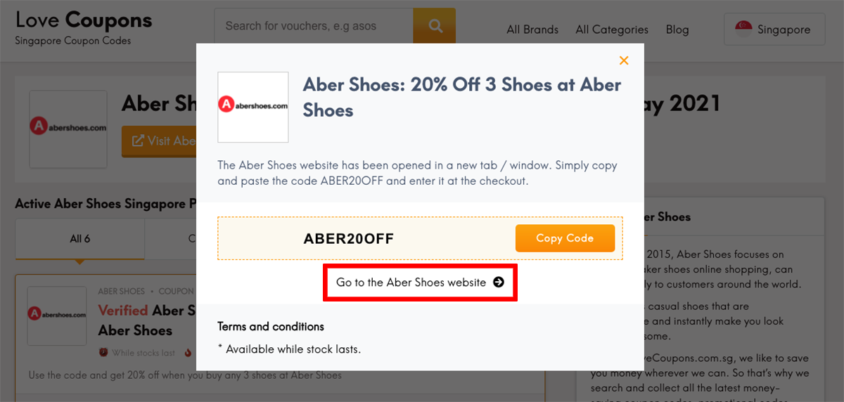 Abershoes SG Get Coupon