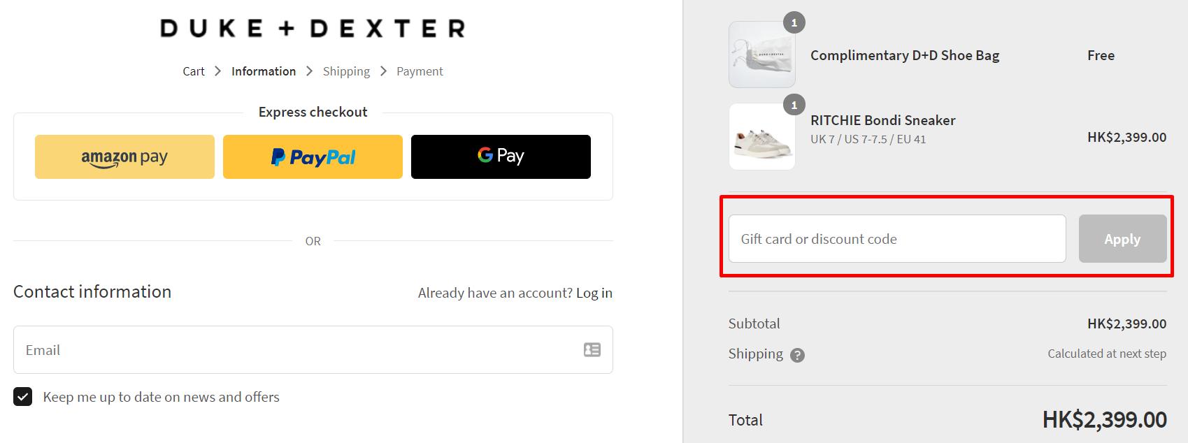 How do I use my Duke & Dexter discount code?