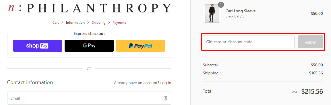 How do I use my N:Philanthropy discount code?