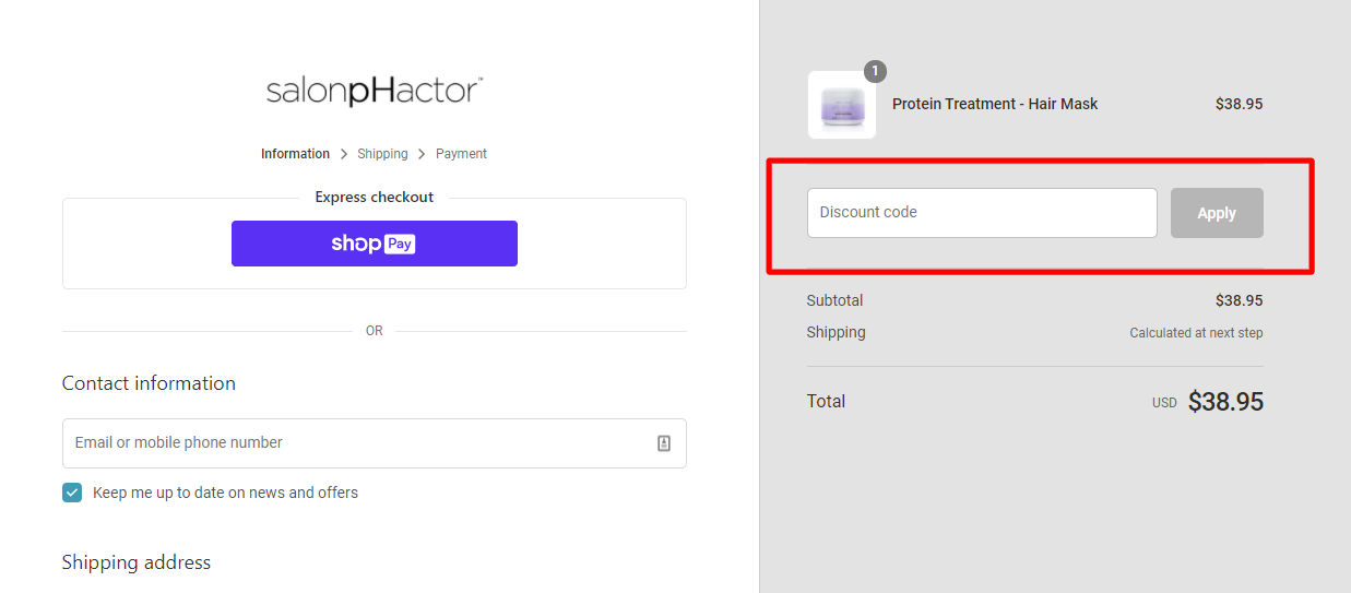 How do I use my salonpHactor discount code?