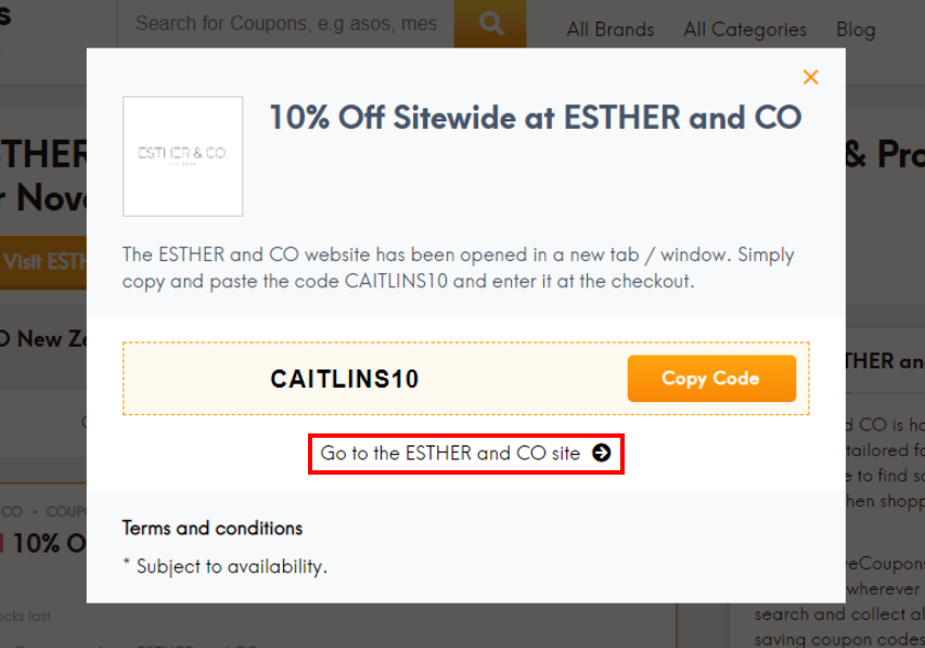 go to Esther & Co site
