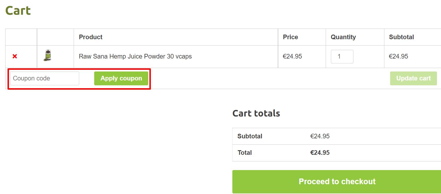 How do I use my Sana Hemp Juice coupon code?
