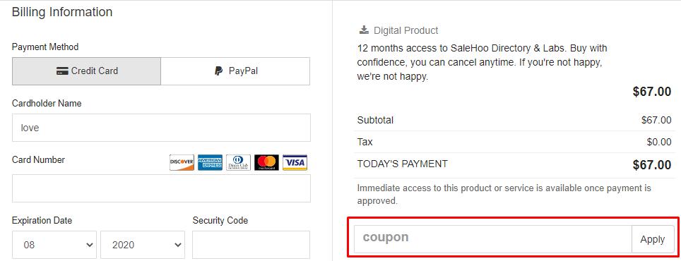 How do I use my SaleHoo coupon code?