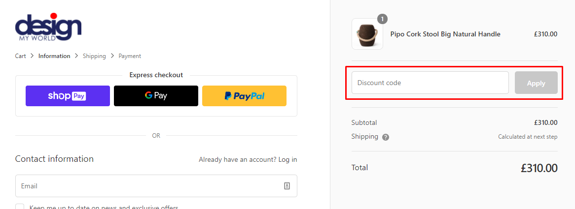 How do I use my Design My World discount code?