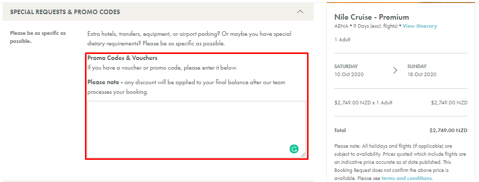 How do I use my Exodus Travels discount code?