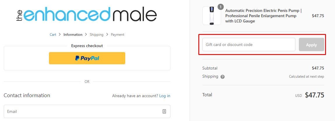 How do I use my The Enhanced Male discount code?