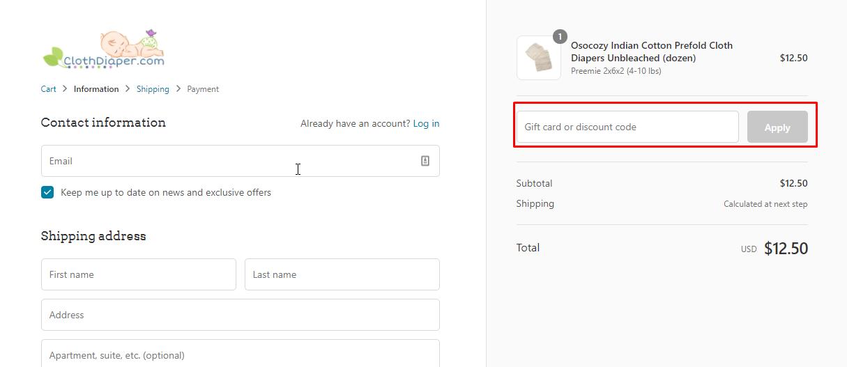 How do I use my Clothdiaper.Com discount code?