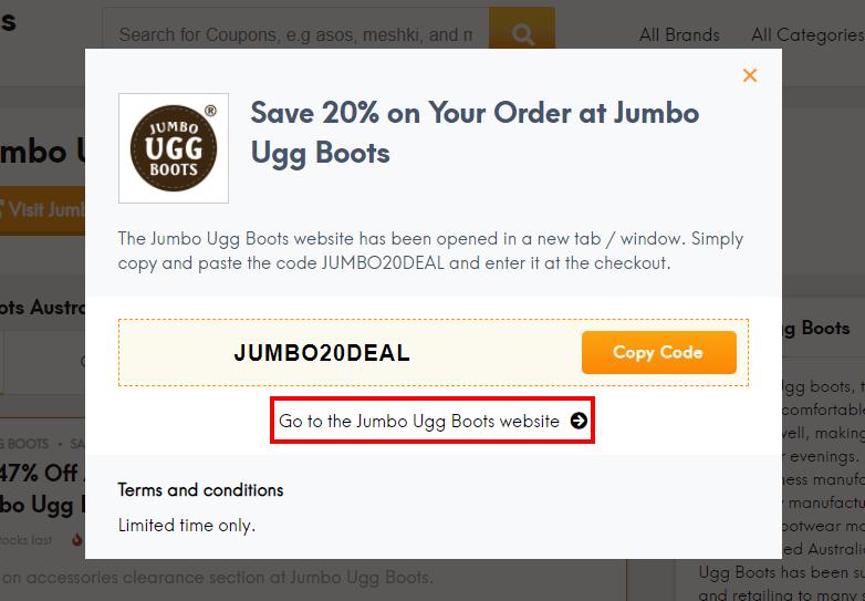 How do I use my Jumbo Ugg Boots coupon code?