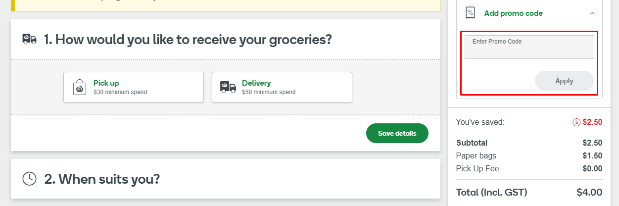 How do I use my Woolworths promo code?