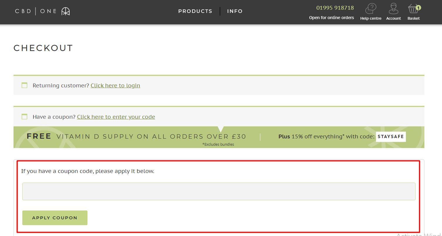 How do I use my CBD ONE discount code?