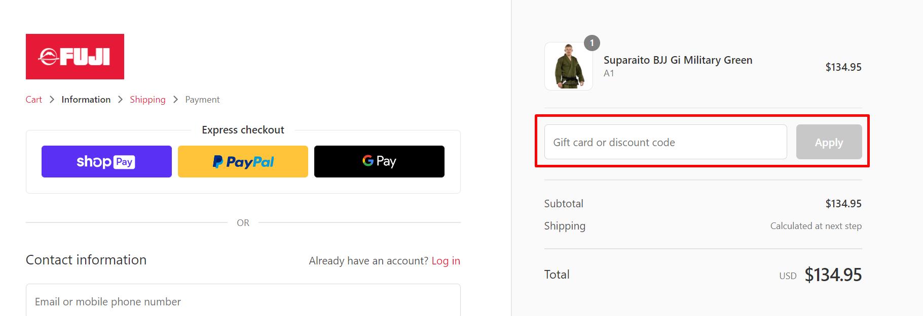 How do I use my Fujisports discount code?