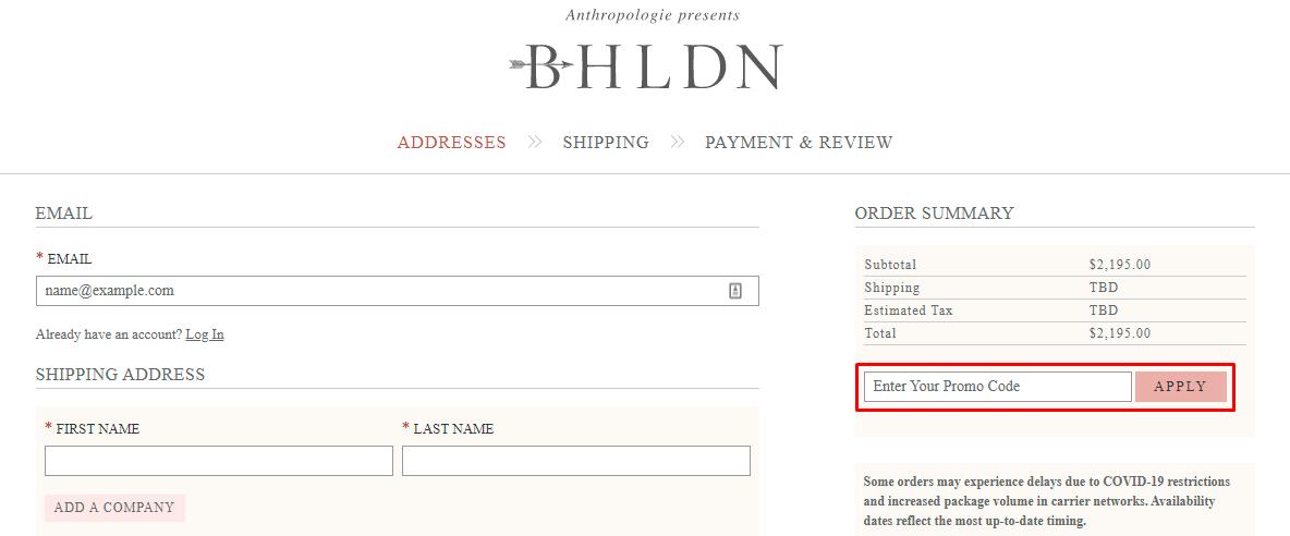 How do I use my BHLDN promo code?