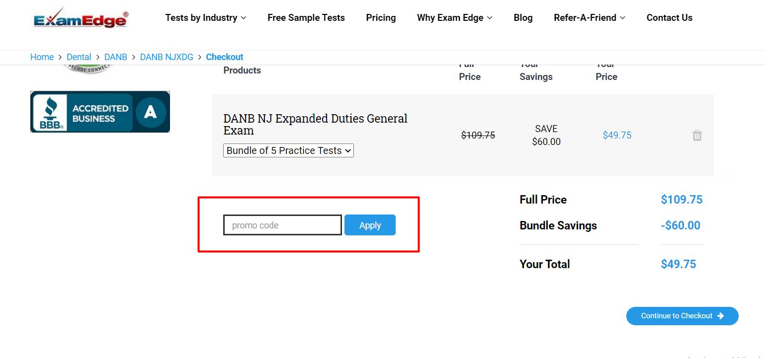 How do I use my Exam Edge discount code?