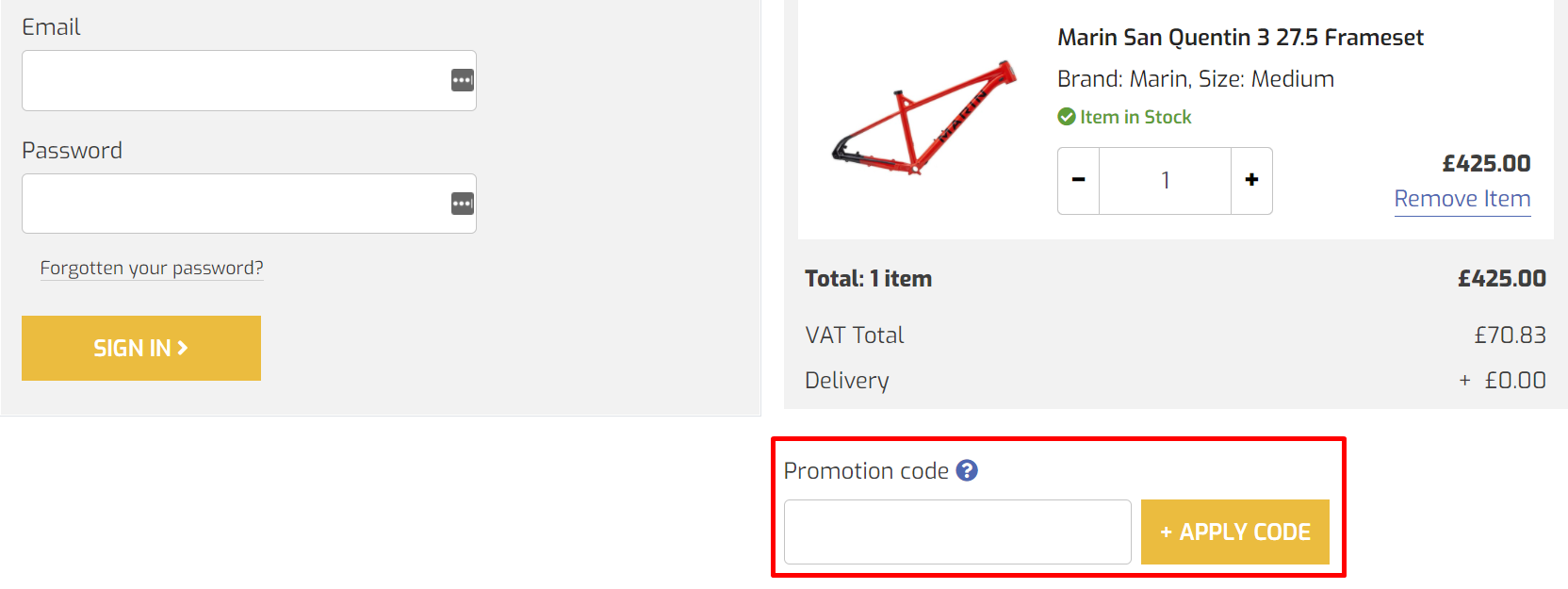 How do I use my AW Cycles promotion code?