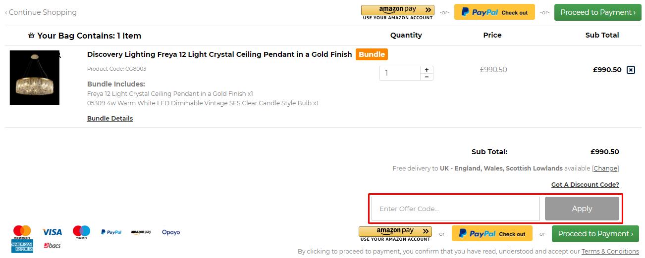 How do I use my Castlegate Lights discount code?