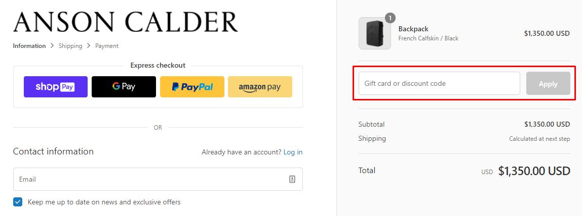 How do I use my Anson Calder discount code?