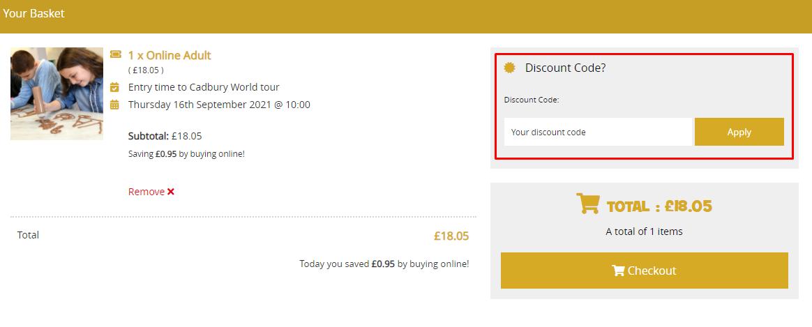 How do I use my Cadbury World discount code?
