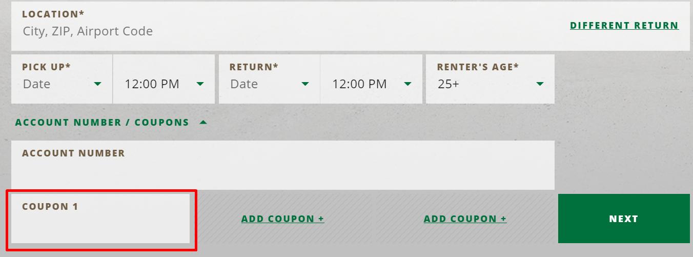 How do I use my National Car Rental coupon code?
