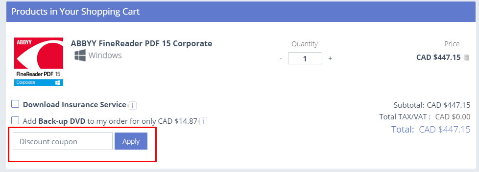 How do I use my ABBYY discount code?