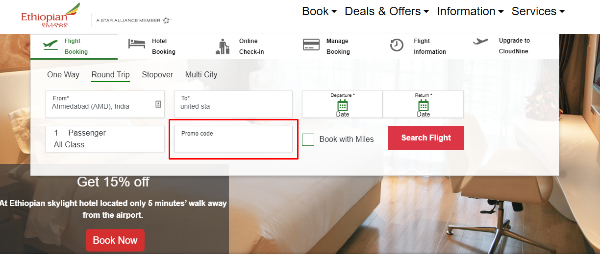 How do I use my Ethiopian Airlines discount code?