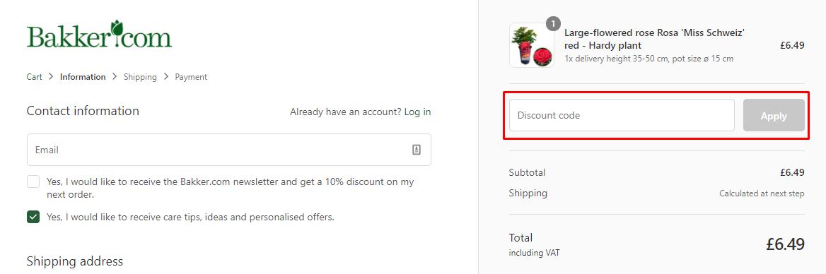How do I use my BAKKER discount code?