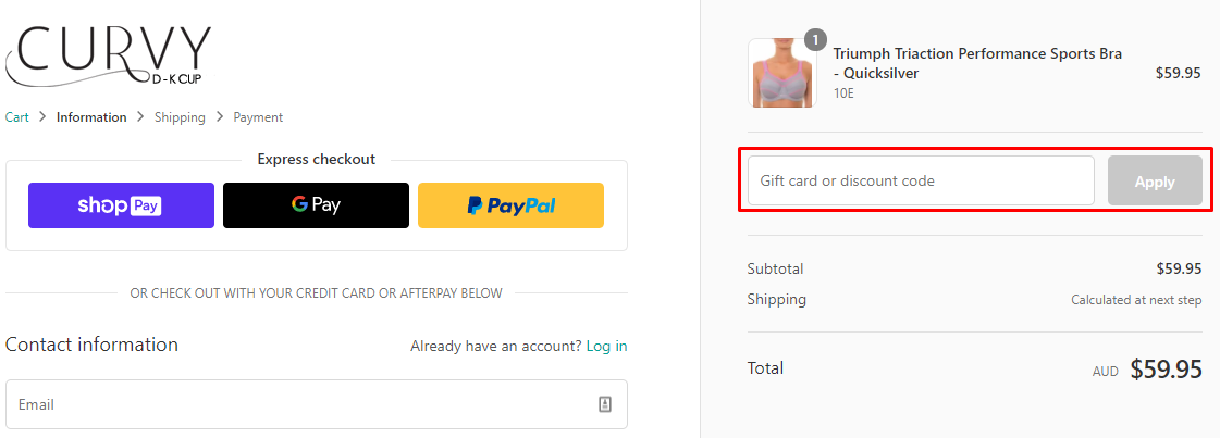 How do I use my Curvy discount code?