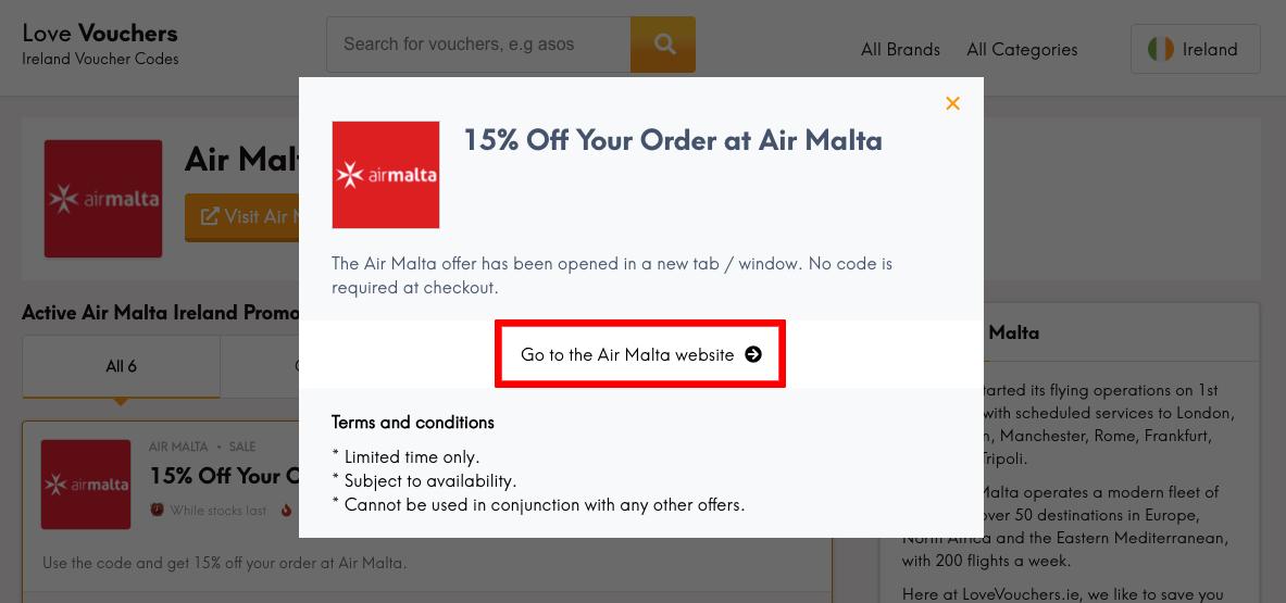 Air Malta IE Get Code