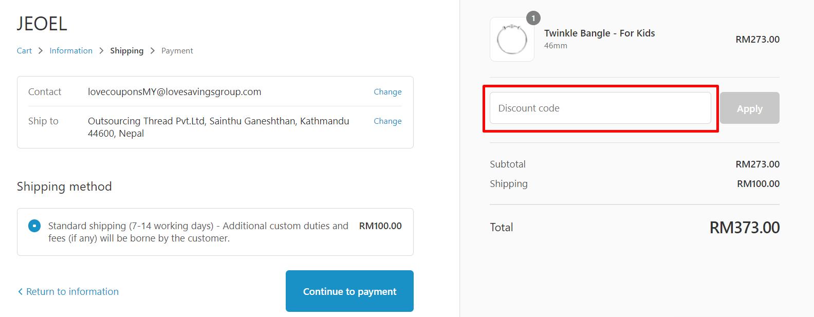 How do I use my JEOEL discount code?