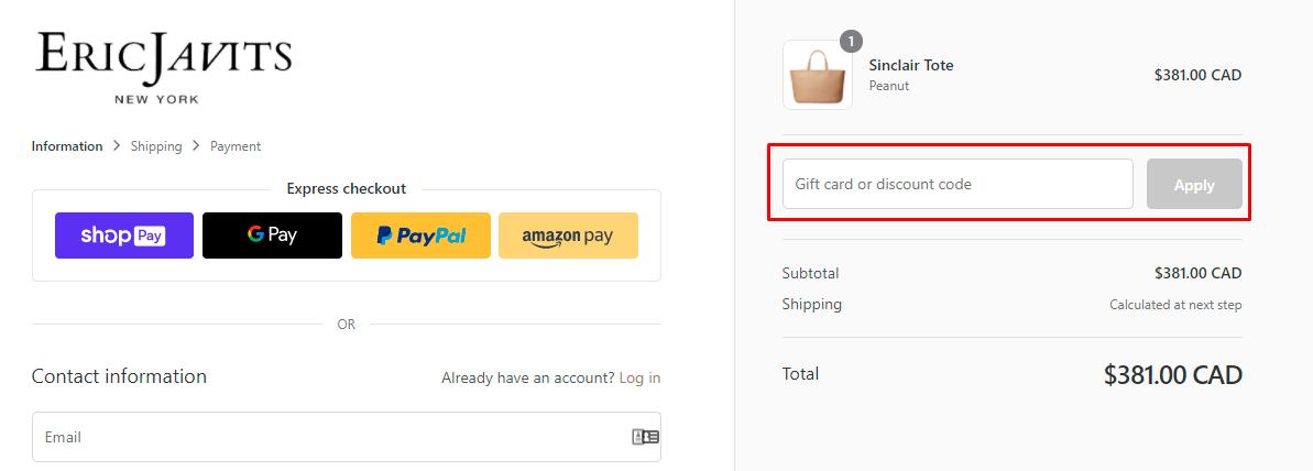 How do I use my Eric Javits discount code?