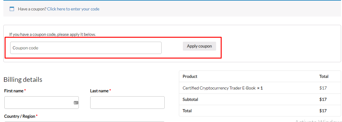 How do I use my Blockchain Council coupon code?
