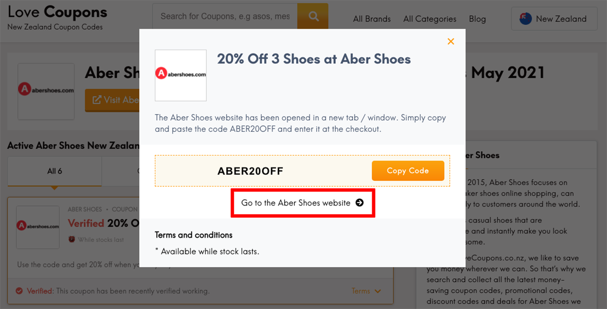 Aber Shoes NZ Get Coupon