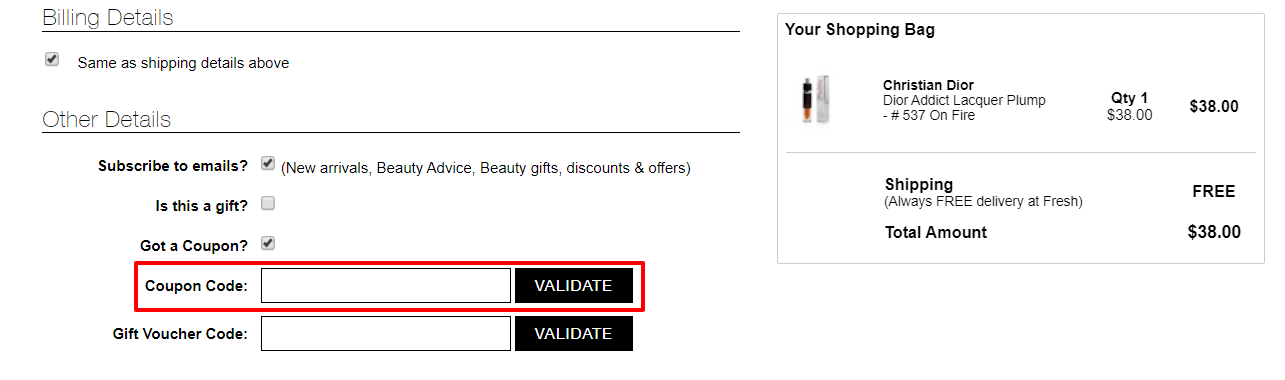 How do I use my Fresh Fragrances discount code?