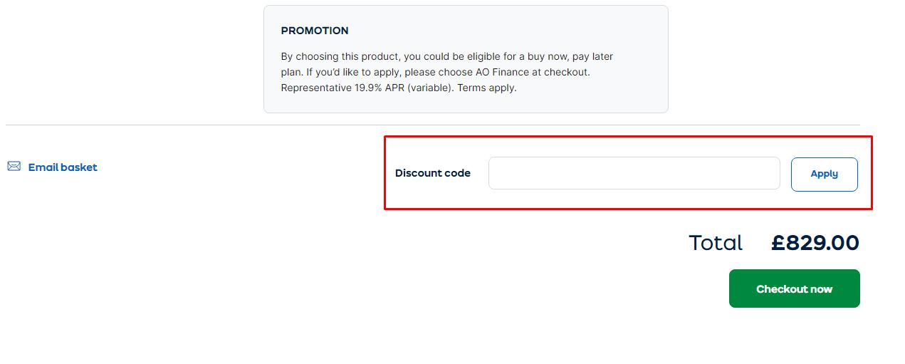 How do I use my ao.com discount code?