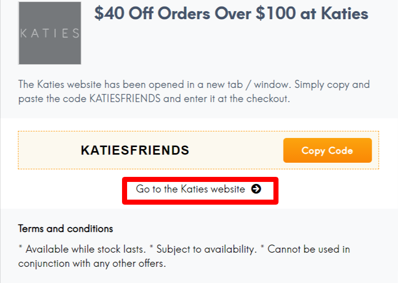 Katies Coupon and Promo Codes AU LC Site