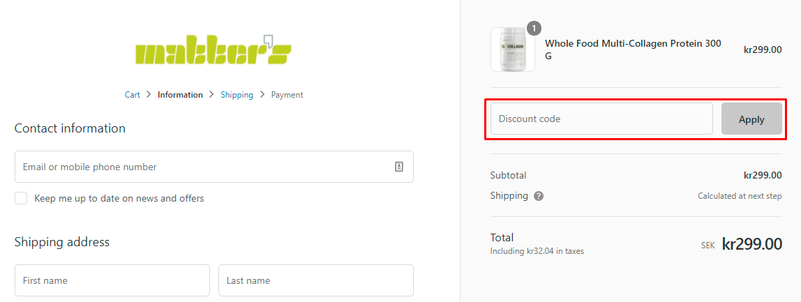 How do I use my Matter's discount code?
