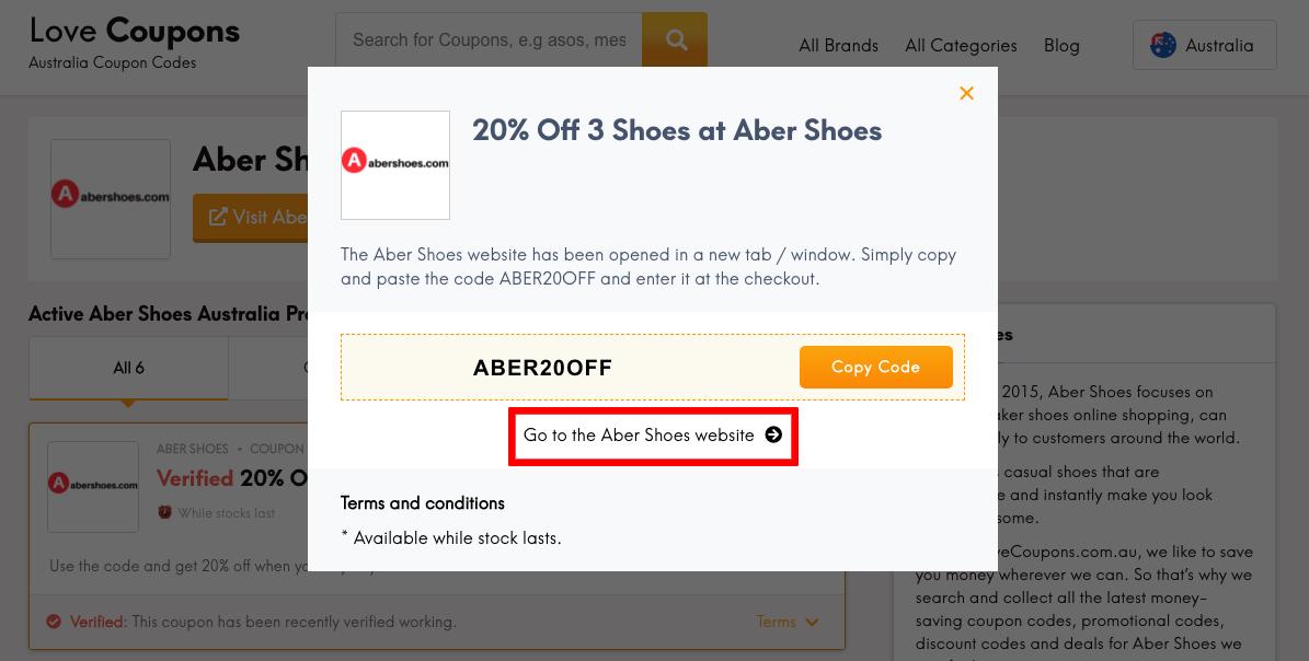 Aber Shoes AU Get Coupon