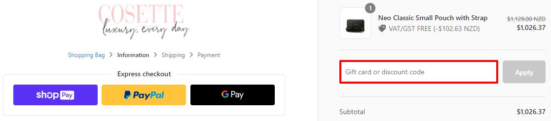 Cosette Discount Code NZ