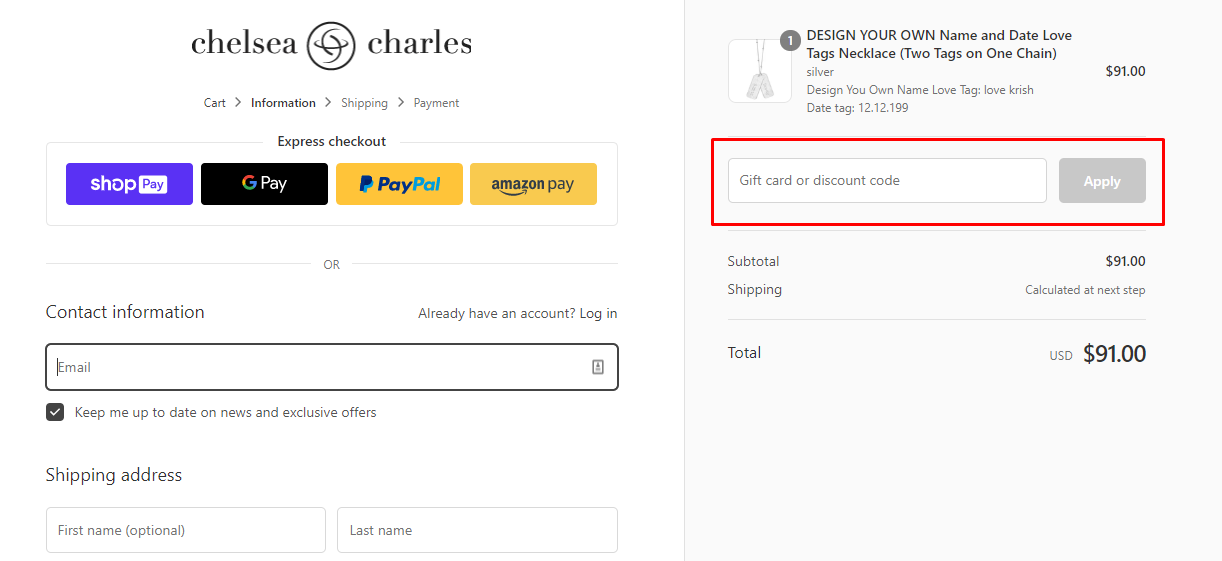 How do I use my Chelsea Charles coupon code?