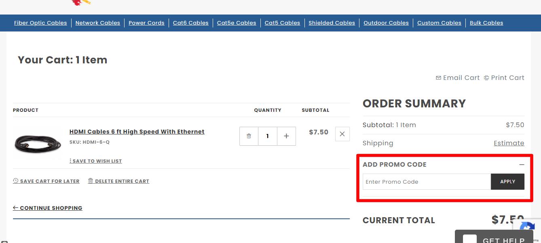 How do I use my Cables.com promo code?