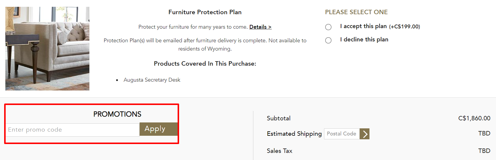 How do I use my Ethan Allen promotion code?