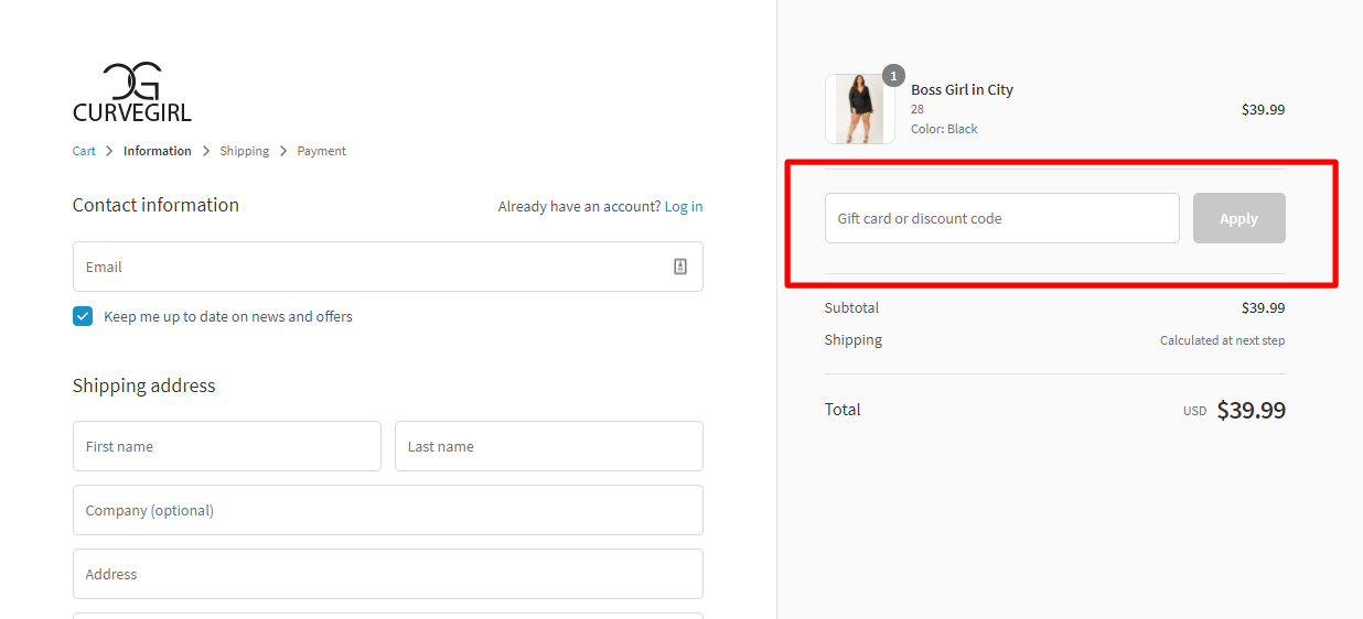 How do I use my CURVEGIRL discount code?