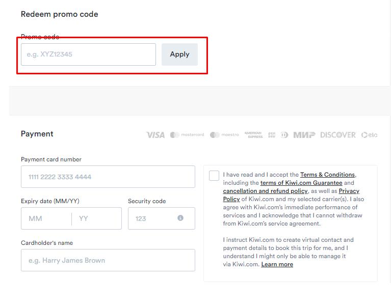 How do I use my Kiwi.com promo code?