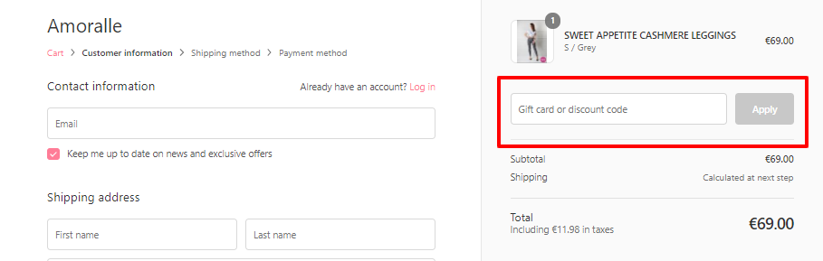 How do I use my Amoralle discount code